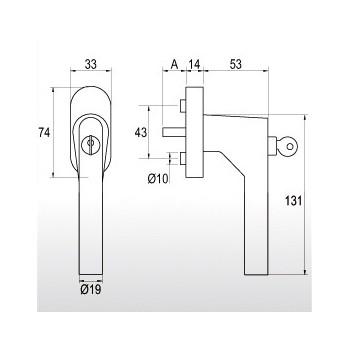 Klamka okienna gQ FG61 SG.ER