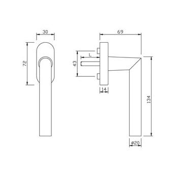 Klamka okienna gQ FG61.AL