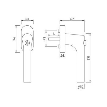 Klamka okienna gQ FG61.S.AL