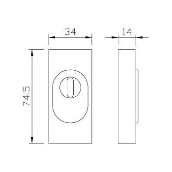 Rectangular slide-on rosette greenteQ ZA PZ 14 mm ER