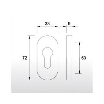 Rozeta nasuwana owalna 9 mm AL